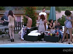 Girls are having a lot of fun during their best friend's pool party, in her garden
