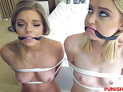 Two hot blonde girls, Chloe and Trisha got tied up and forced to suck a huge cock