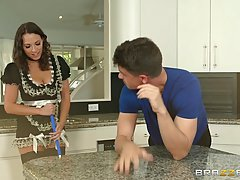 Lily Love and Alena Croft are having a perfect threesome with a horny guy, in the kitchen
