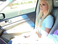 Adorable blonde with a beautiful smile, got her pussy fingered in the car, just for fun